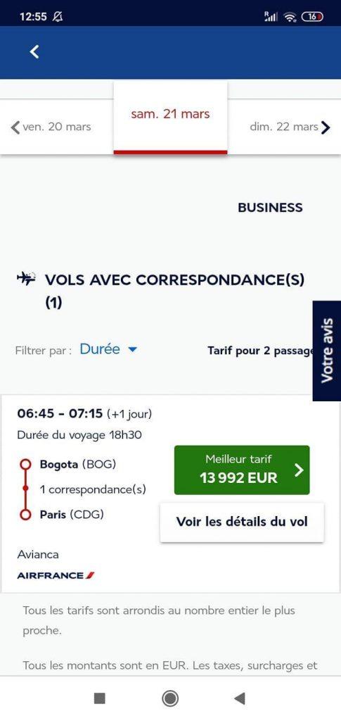 Precio de un billete de Air France durante el coronavirus